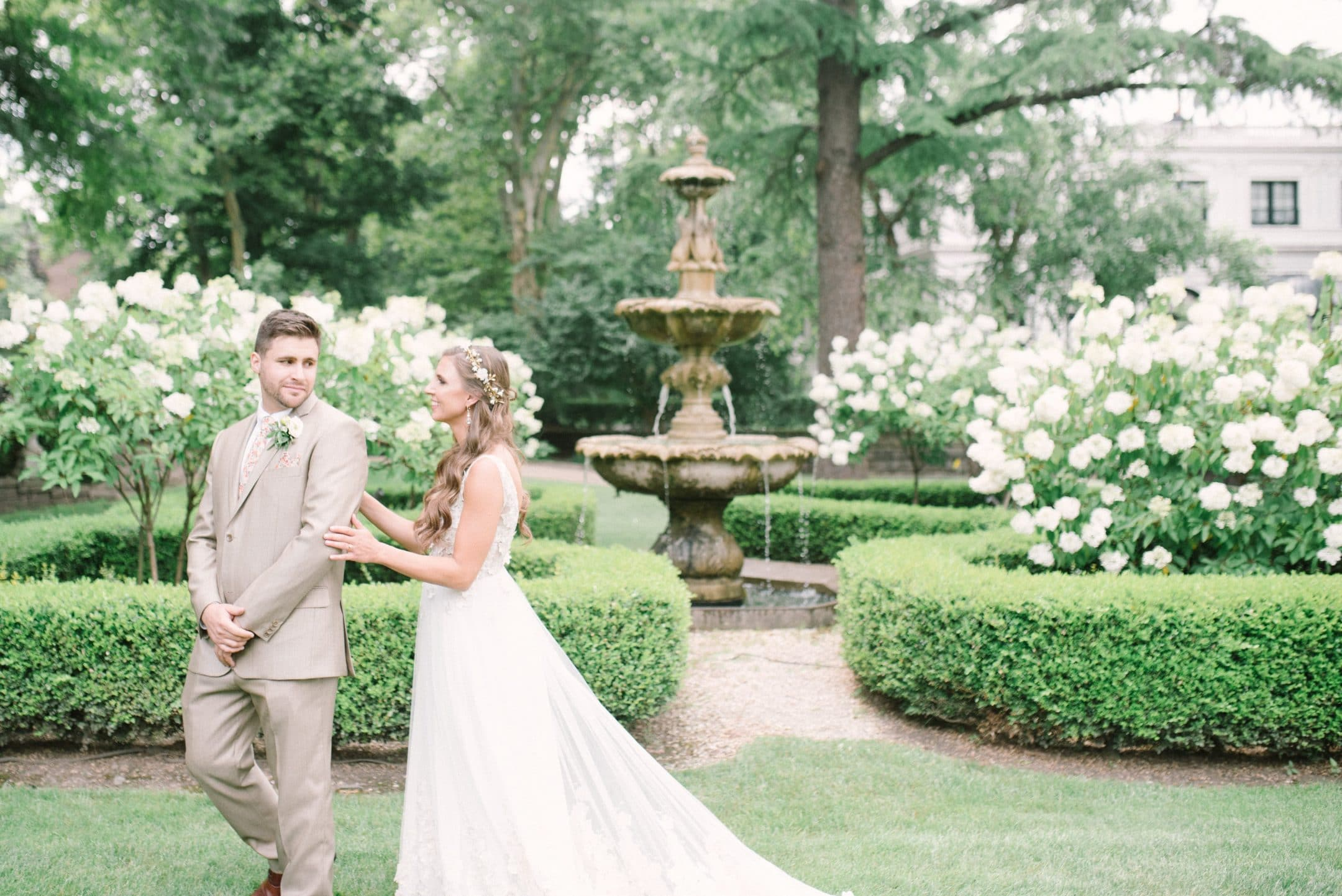 Bride and groom at botanical garden