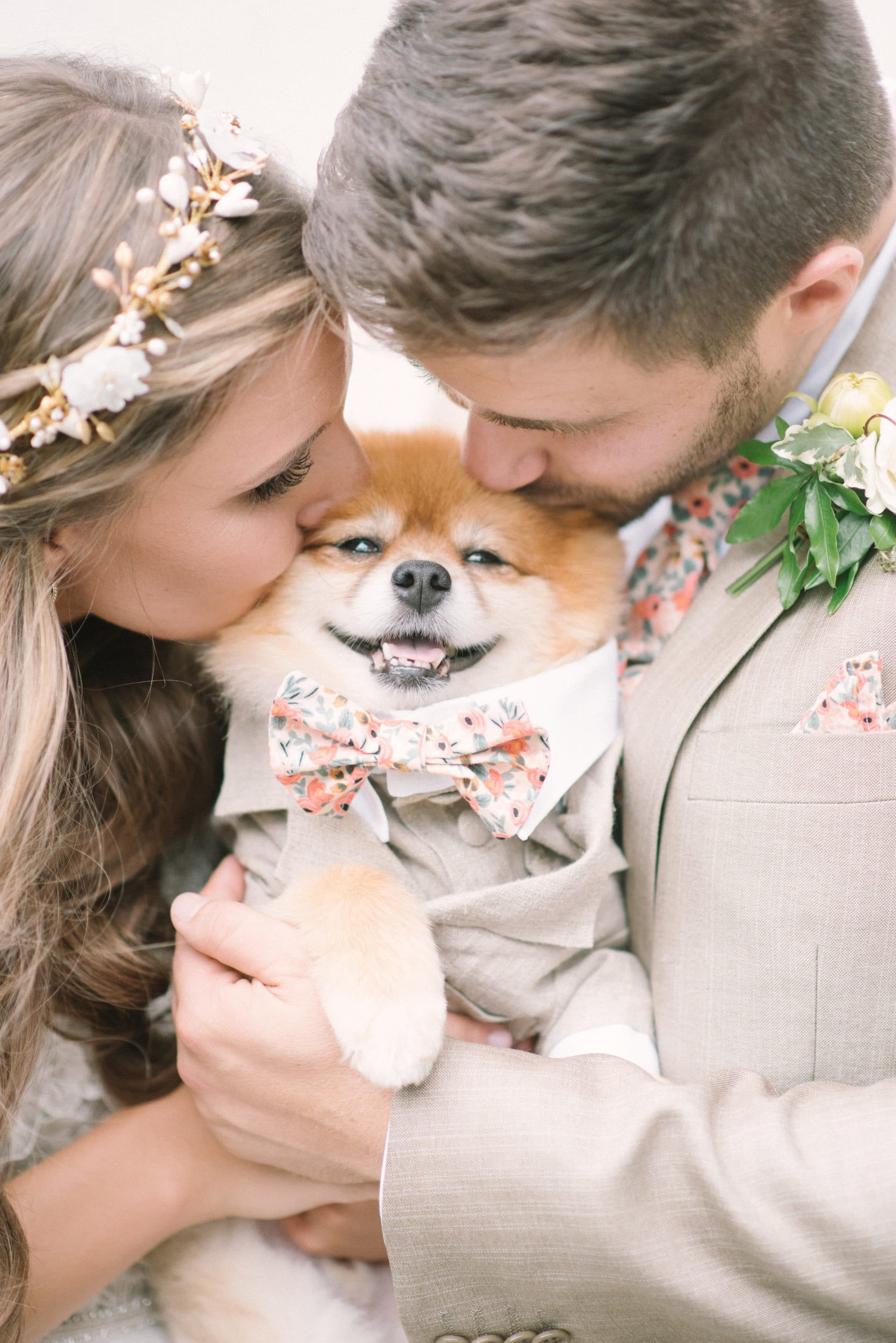 Bride and Groom with their Dog 2